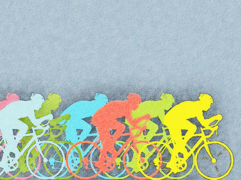 Acuarela de los ciclistas stock de ilustración