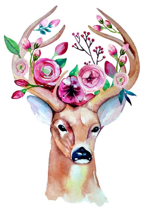 Acuarela de los ciervos Excepto la fecha boda del EPS 10 libre illustration