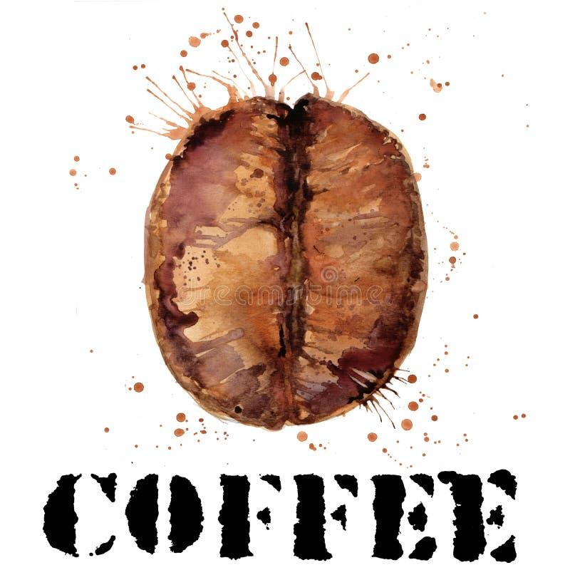 Acuarela de los granos de café Granos de café en el fondo blanco libre illustration