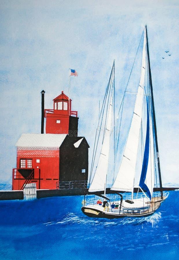 Acuarela del barco de vela stock de ilustración
