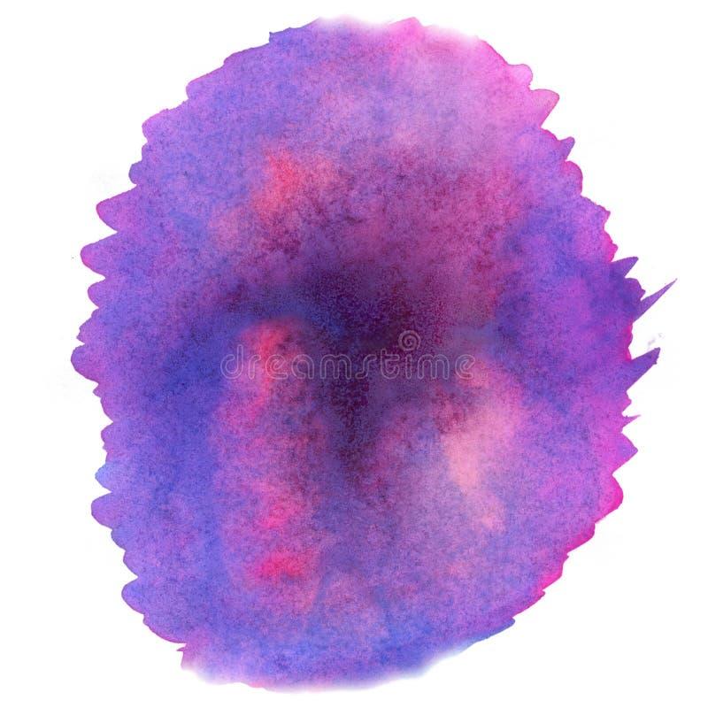 Acuarela del chapoteo el descenso rosado púrpura del extracto de la acuarela aisló la mancha blanca /negra para su arte del diseñ stock de ilustración