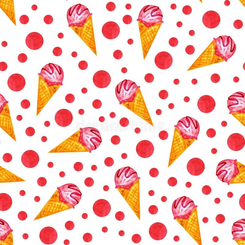 Acuarela del dibujo de la mano del cono de helado stock de ilustración