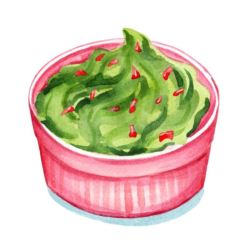 Acuarela del Guacamole ilustración del vector