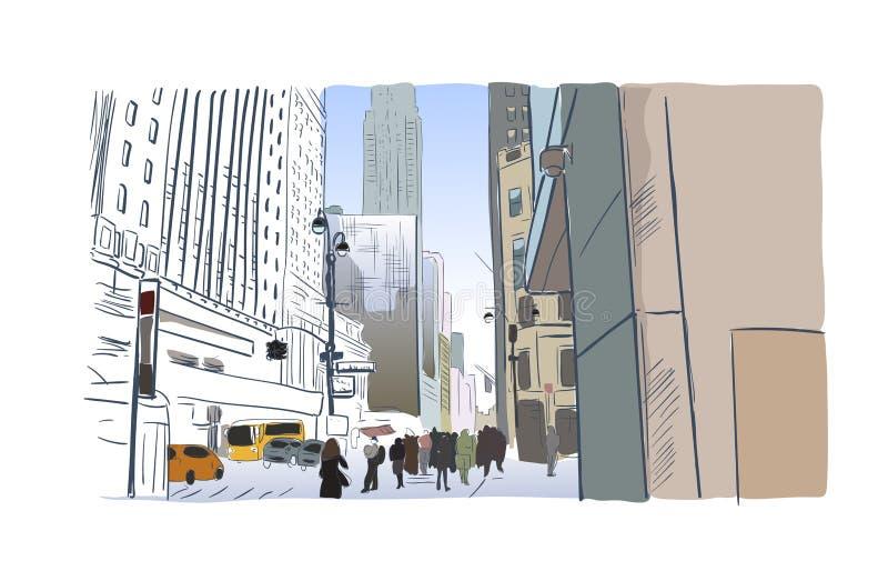 Acuarela del ilustrador de la calle del bosquejo de New York City ilustración del vector