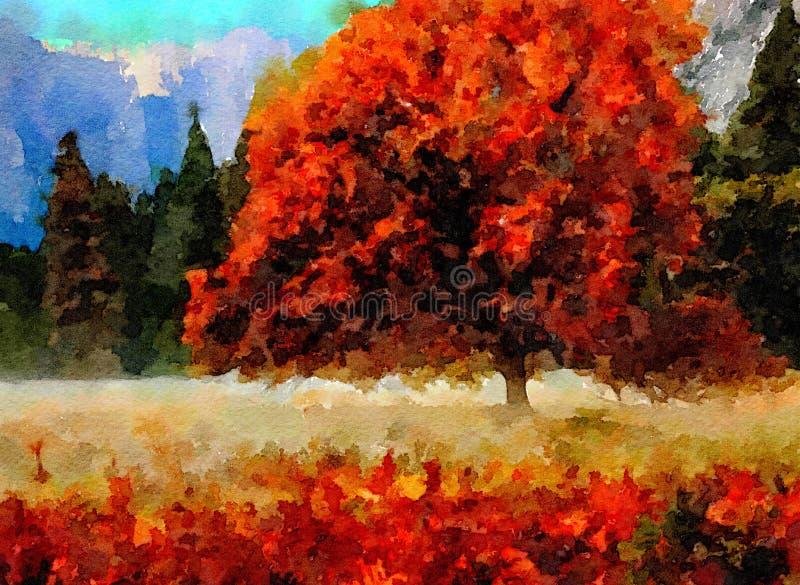 Acuarela del valle de Yosemite libre illustration