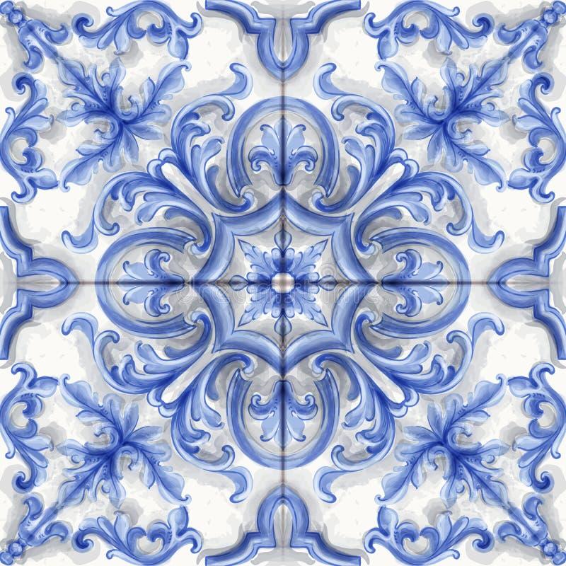 Acuarela del vector de la teja o del ornamento del mosaico Plantillas de la decoración del estilo del rosetón de Medalion ilustración del vector