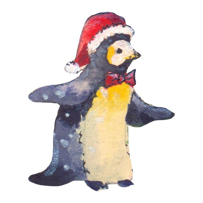 Acuarela divertida del pingüino, ejemplo hecho a mano ilustración del vector