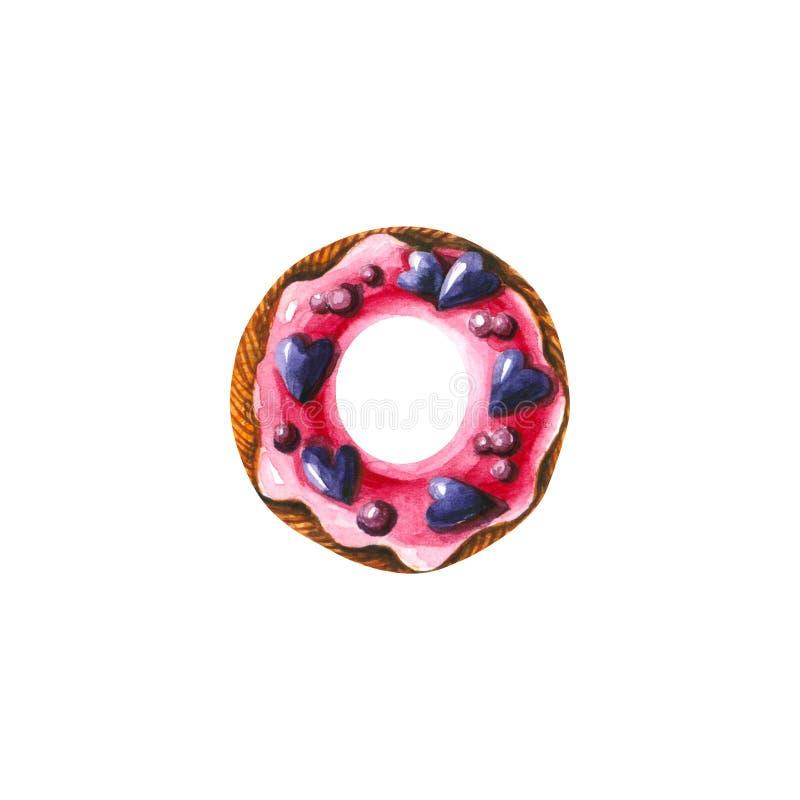 Acuarela donut con corazones y caramelos Ilustración dibujada a mano aislada en blanco stock de ilustración
