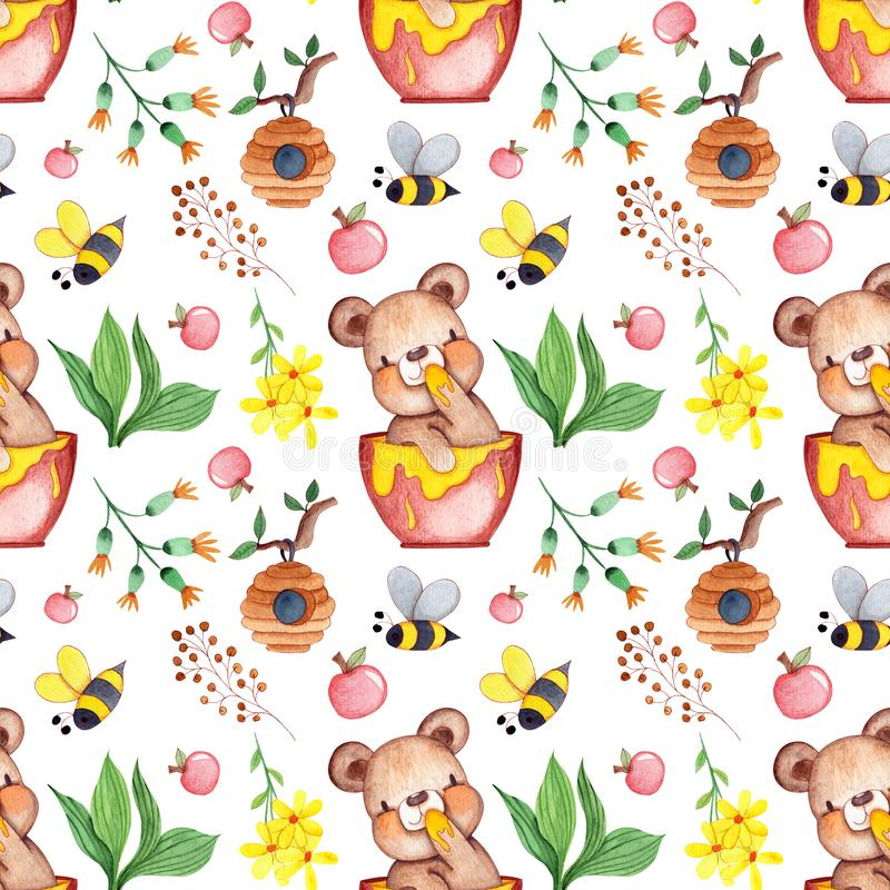 Acuarela exhausta Honey Bear Seamless Pattern de la mano para la fabricaci?n, el papel, la materia textil y la impresi?n de la ta stock de ilustración