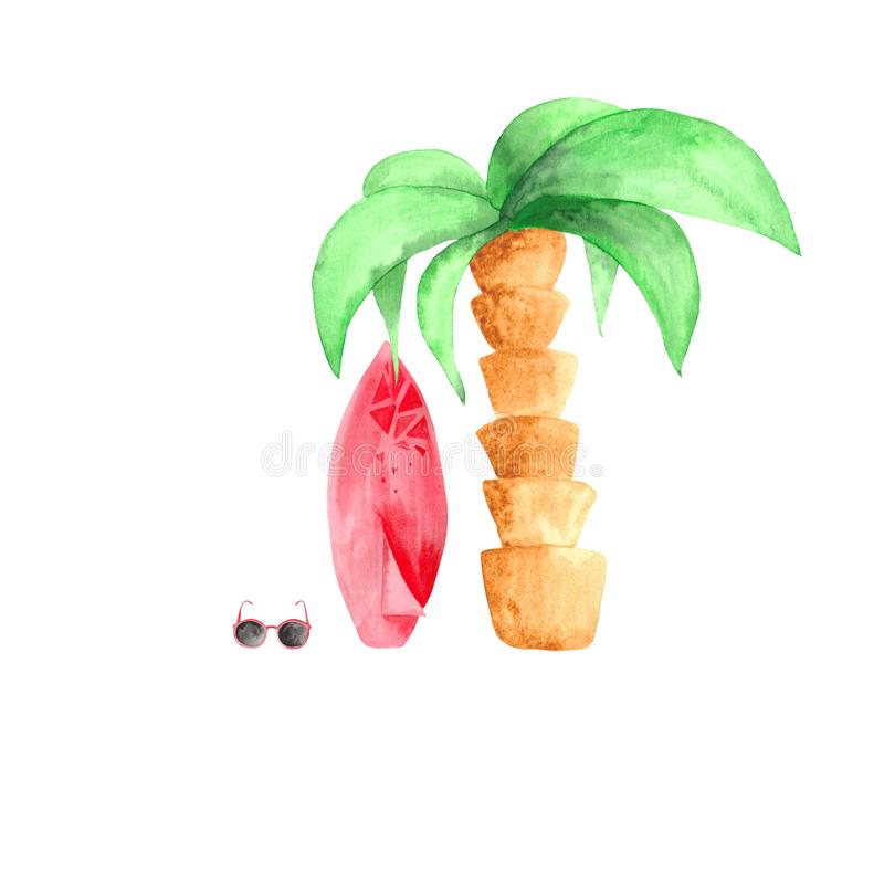 Acuarela fijada con la resaca, muchacha de la palma, coctail del cocount stock de ilustración