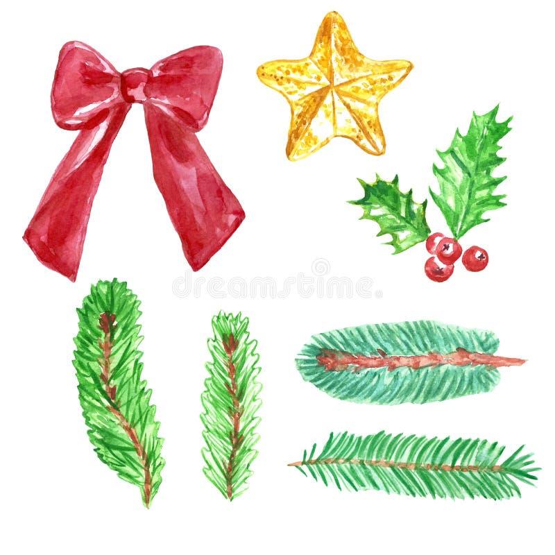 Acuarela fijada con las ramas de árbol de abeto, cinta, estrella del árbol de navidad, acebo de la Navidad y del Año Nuevo libre illustration