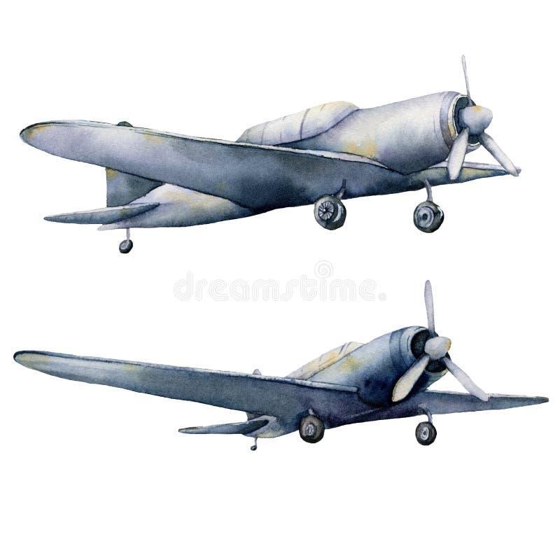 Acuarela fijada con los aeroplanos Ejemplo pintado a mano del cielo con los aviones aislados en el fondo blanco Para el dise?o stock de ilustración