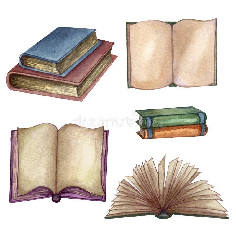 Acuarela fijada con los libros viejos Ejemplo exhausto de la mano original de los libros de escuela vieja Dise?o de la escuela El stock de ilustración