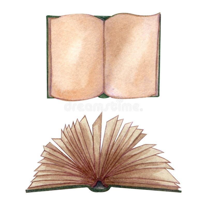 Acuarela fijada con los libros viejos Ejemplo exhausto de la mano original de los libros de escuela vieja Dise?o de la escuela Li libre illustration
