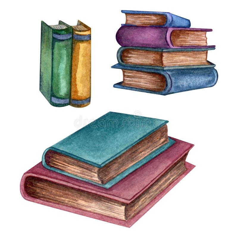 Acuarela fijada con los libros viejos Ejemplo original de los libros de escuela vieja Dise?o de la escuela Elementos de ClipArt ilustración del vector