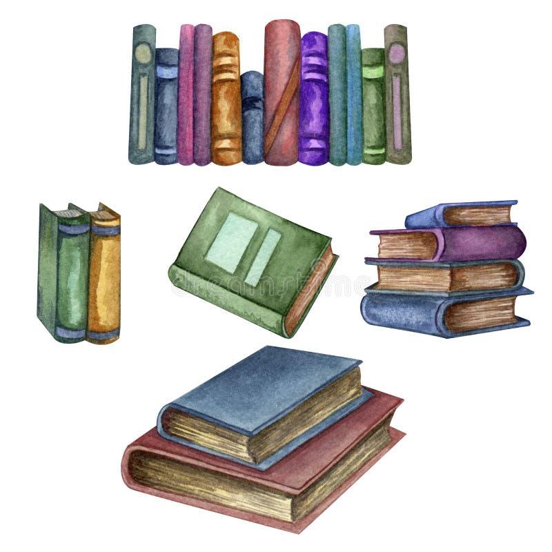 Acuarela fijada con los libros viejos Ejemplo original de los libros de escuela vieja Dise?o de la escuela Elementos de ClipArt libre illustration