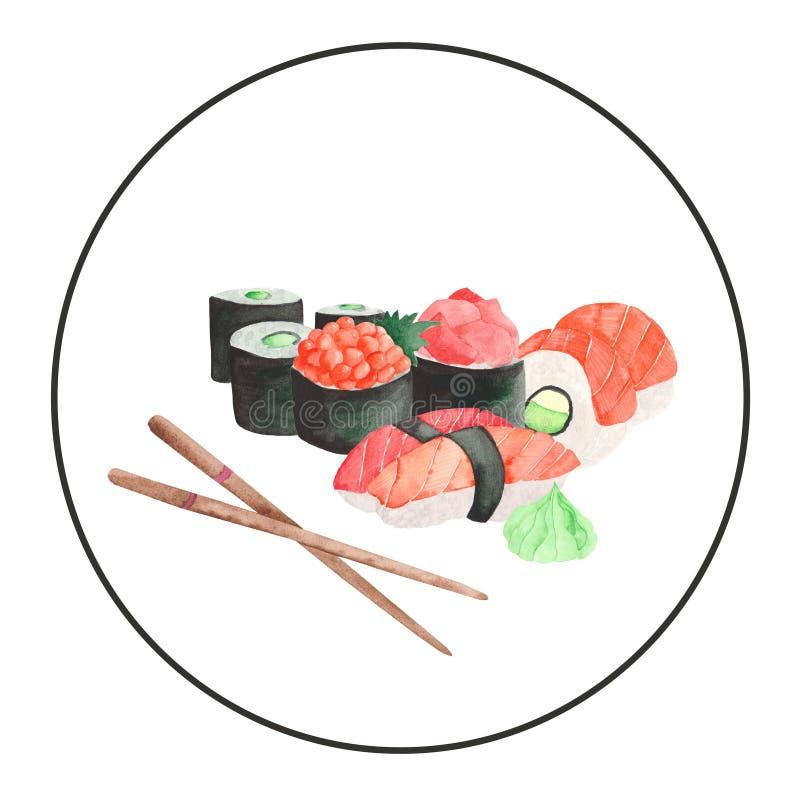 Acuarela fijada con un marco del sushi japon?s de la comida ilustración del vector