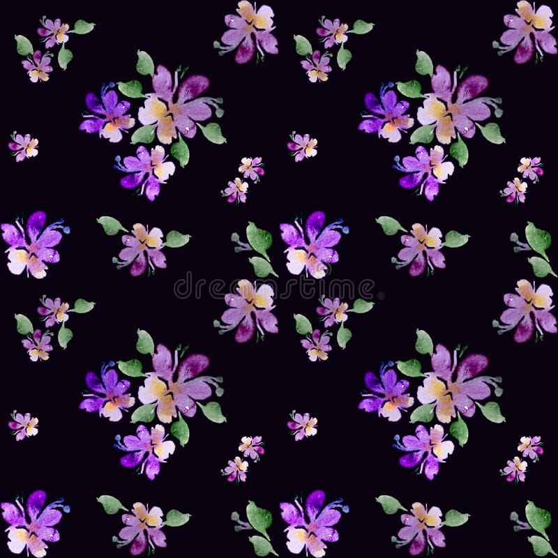 Acuarela, flores p?rpuras en un fondo blanco Trabajo hecho a mano ilustración del vector