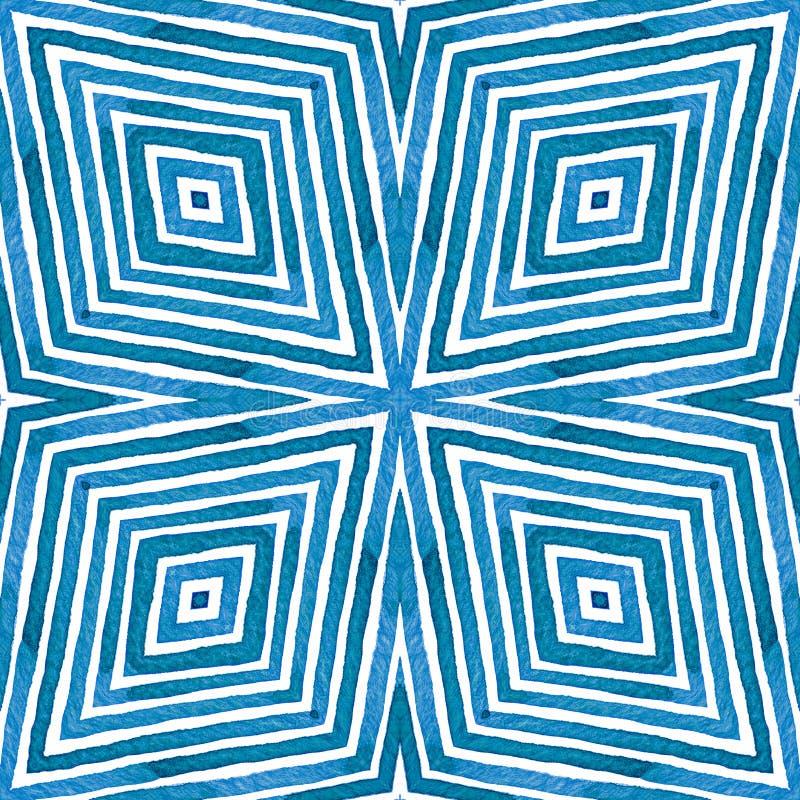 Acuarela geométrica azul Modelo inconsútil vivo Rayas dibujadas mano Textura del cepillo Ornamento admirable de Chevron imagen de archivo