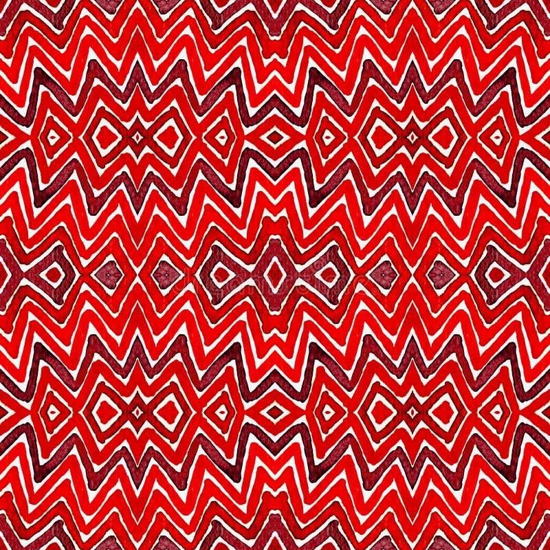 Acuarela geométrica del rojo de vino Modelo inconsútil graciosamente Rayas dibujadas mano Textura del cepillo fascinación libre illustration