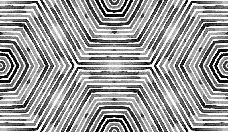 Acuarela geométrica negra y blanca Modelo inconsútil real Rayas dibujadas mano Textura del cepillo Ornamento perfecto de Chevron ilustración del vector