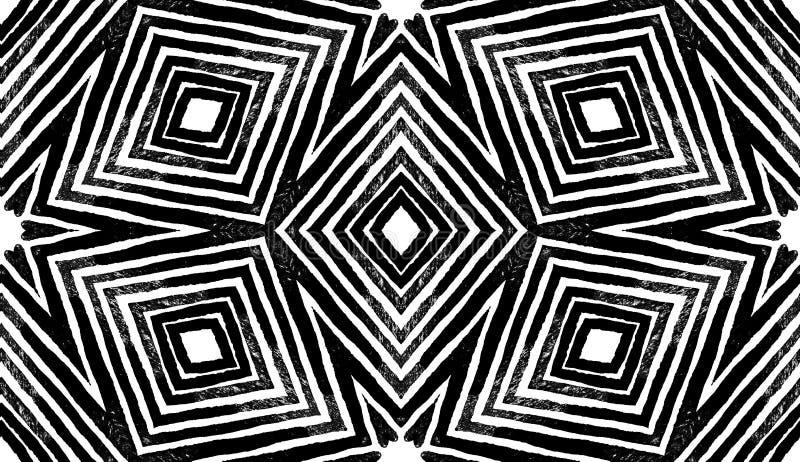 Acuarela geométrica oscura del negro y blanca Modelo inconsútil de fascinación Rayas dibujadas mano Textura del cepillo libre illustration