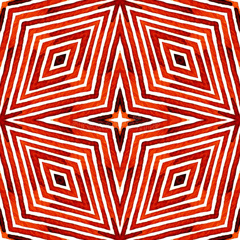 Acuarela geométrica roja Modelo inconsútil lindo Rayas dibujadas mano Textura del cepillo Chevr indeleble imágenes de archivo libres de regalías