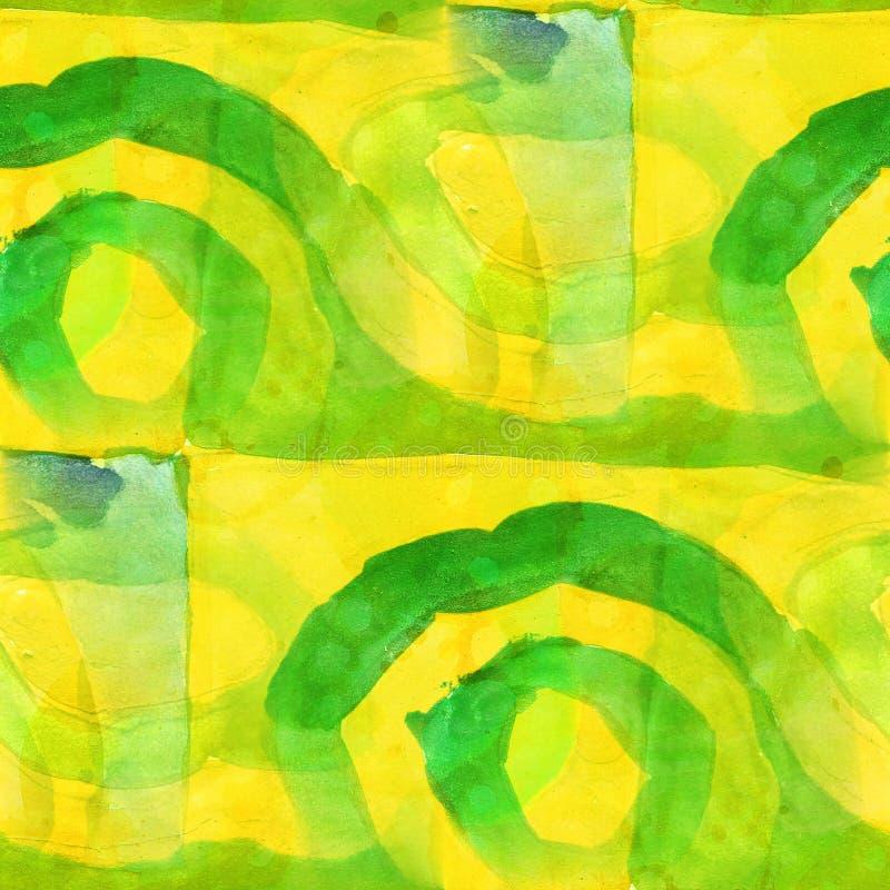 Acuarela inconsútil del diseño amarillo, verde del modelo libre illustration