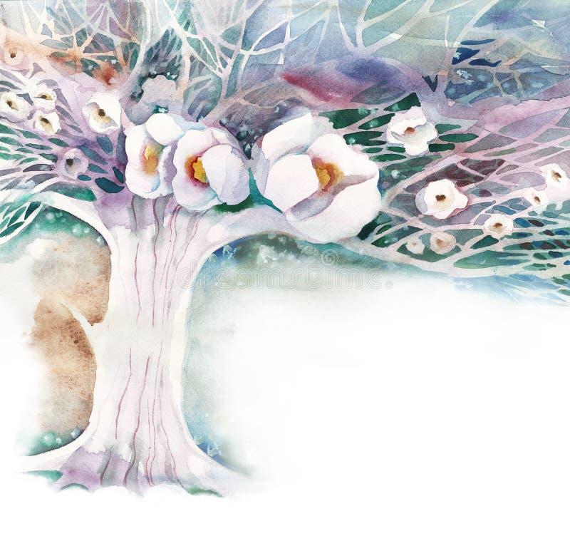 Acuarela - jardín de Apple ilustración del vector