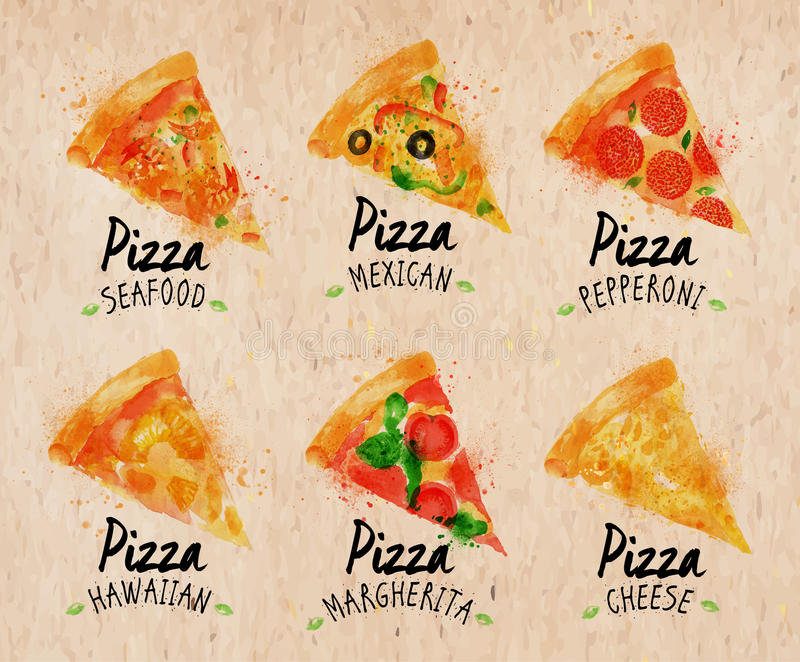 Acuarela Kraft determinado de la pizza libre illustration