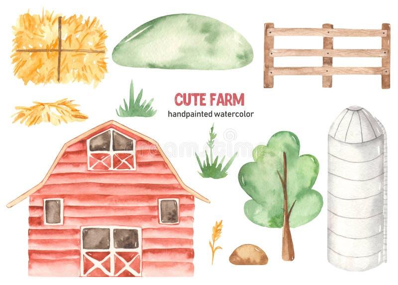 Acuarela linda granja con granero, granero, heno, pala, valla de madera, colina, árbol, hierba ilustración del vector