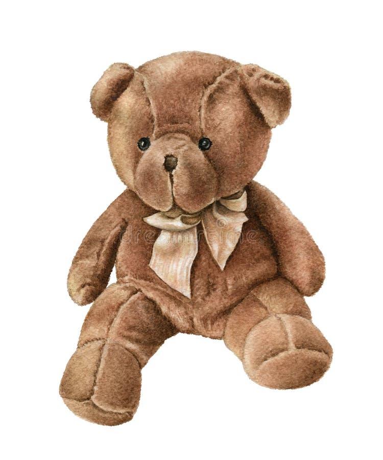 Acuarela linda Teddy Bear aislado en blanco ilustración del vector