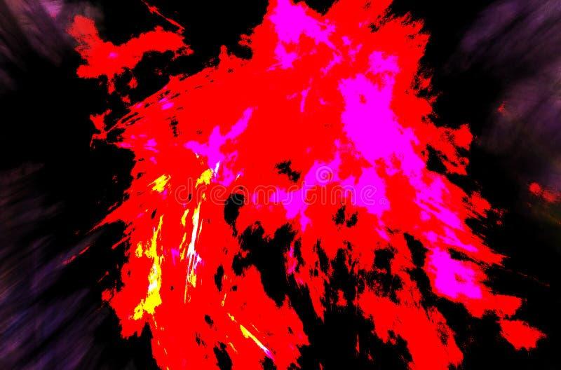 Acuarela moderna con el modelo negro rojo del infierno en el fondo blanco Fondo azul claro del color de la pendiente imagenes de archivo