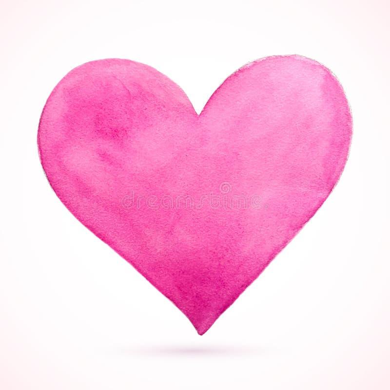 Acuarela natural rosada del corazón imagenes de archivo