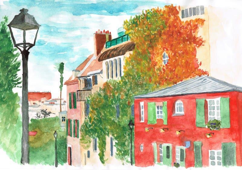 Acuarela: otoño en Montmartre, París fotos de archivo libres de regalías