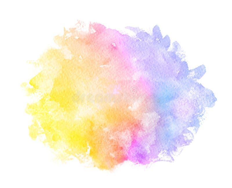 Acuarela púrpura anaranjada verde amarilla roja azul rosada de la violeta del extracto en el fondo blanco El color que salpica en stock de ilustración
