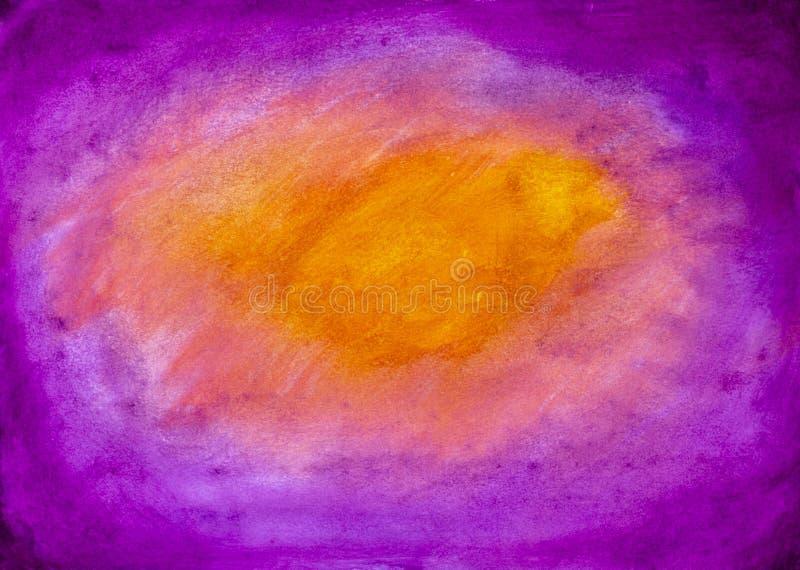Acuarela púrpura rosada anaranjada del fondo que dibuja la pintura al óleo de acrílico ilustración del vector