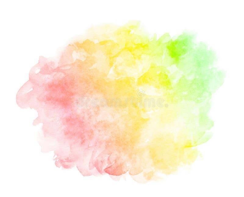 Acuarela púrpura verde amarilla roja azul rosada de la violeta del extracto en el fondo blanco El color que salpica en el papel E ilustración del vector
