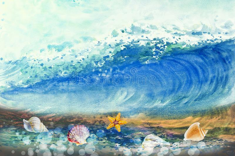 Acuarela que pinta la onda grande del mar libre illustration