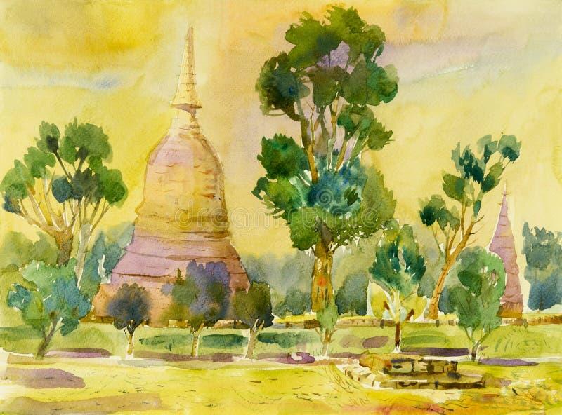 Acuarela que pinta paisaje original colorido de arqueológico ilustración del vector
