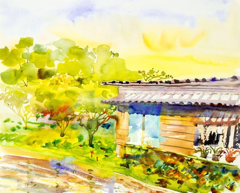 Acuarela que pinta paisaje original colorido de la orilla stock de ilustración