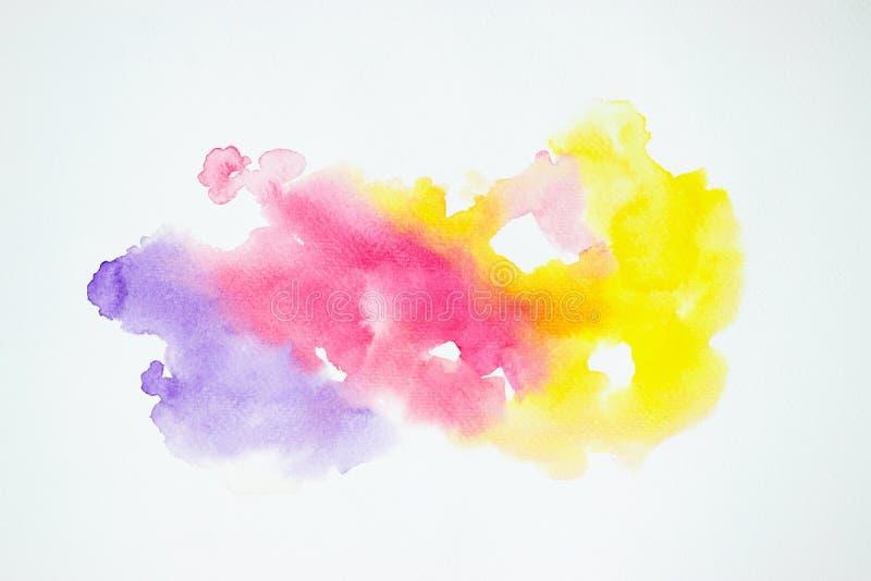 Acuarela que pinta salpicar colorido en textura del Libro Blanco stock de ilustración