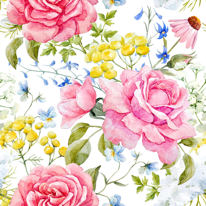 Acuarela Rose Seamless Pattern ilustración del vector