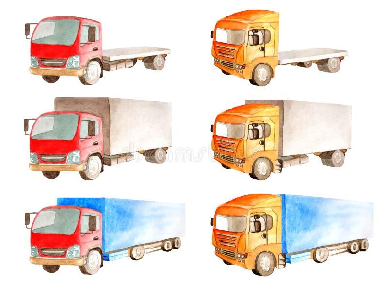 Acuarela una colección de camiones con una cabina roja y anaranjada, pero diversos cuerpos abiertos y cerrados libre illustration
