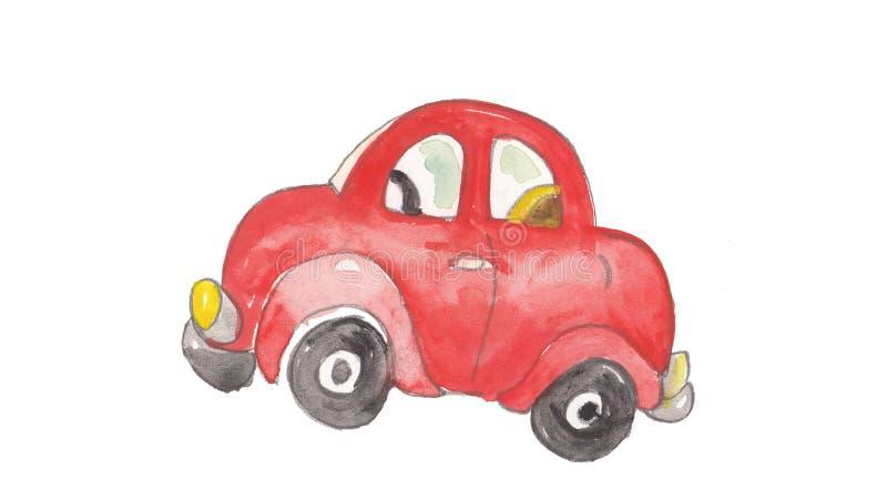 Acuarela y coche rojo colorido libre illustration