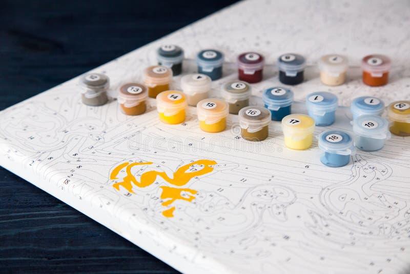 Acuarela Y Colorante Por Números Pintura En Lona Por Número Imagen ...
