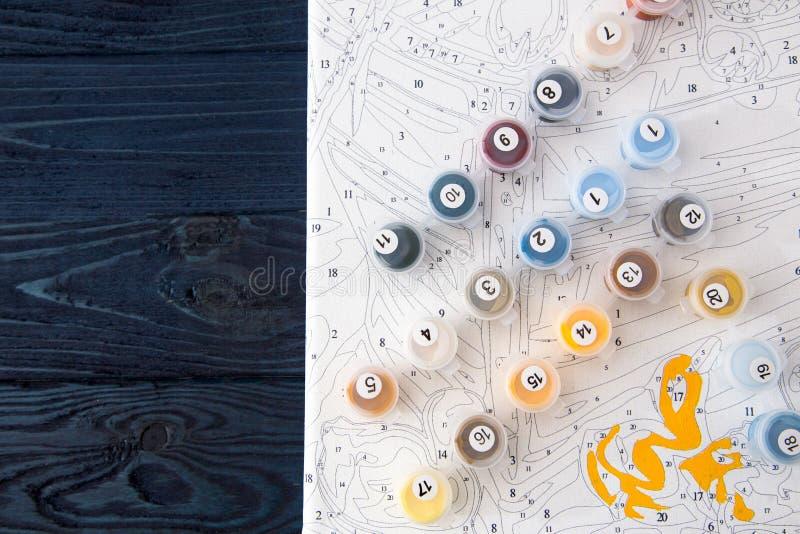 Acuarela Y Colorante Por Números Pintura En Lona Por Número Foto de ...