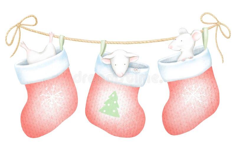 Acuarela y sistema gráfico digital del mise blanco tres en calcetines de la Navidad ilustración del vector