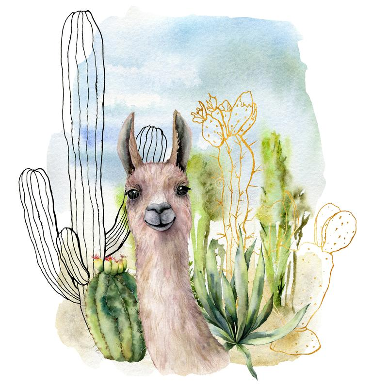 Acuarela y tarjeta de los paisajes del desierto del bosquejo con el lama Cactus pintado a mano, cielo y nubes mexicanos de oro y  ilustración del vector