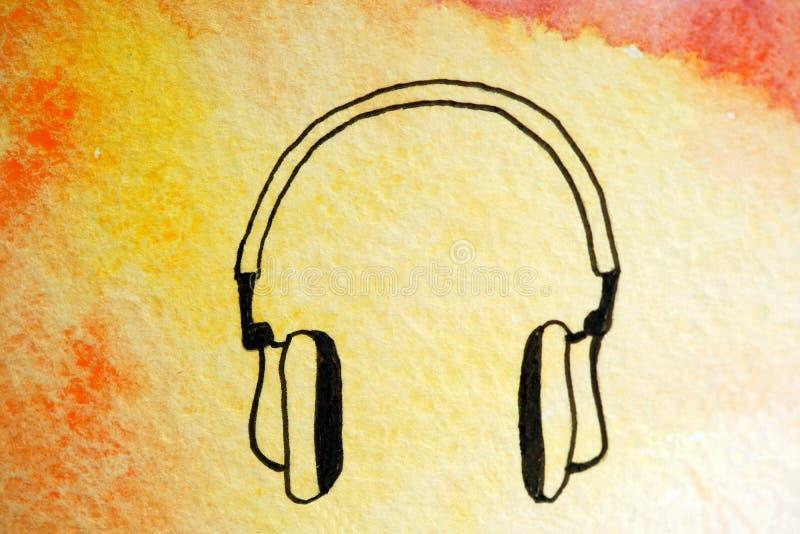 Acuarela y trazador de líneas pintados de los auriculares stock de ilustración